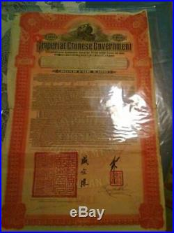 Antique 100£5% Imperial Chinese Government 1911 Hukuang Railway Gold Bond