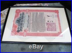 Antique 100£5% Imperial Chinese Government 1911 Hukuang Railway Gold Bond FRAMED