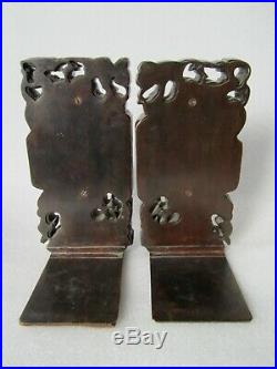Antique 1800s Chinese Imperial Dragon and Phoenix Hand Carved Wood Bookend Set