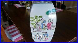 Antique 18-19 C Chinese Porcelain Famille Rose Imperial Figures Jar Lid13,5'