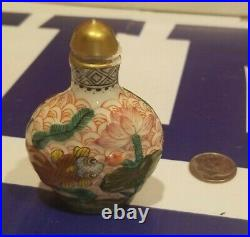 Antique 18th c. Hallmarked Chinese Imperial Famille Rose Porcelain Snuff Bottle