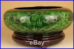 Antique Big Royal Chinese Old Enamels Cloisonne Dragon Statue Bowl pot ornament