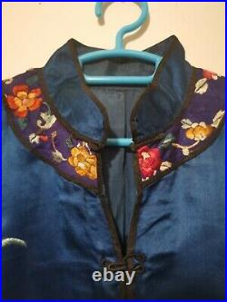 Antique Blue Silk Hand Embroidered Imperial Chinese Dragon Robe Dress