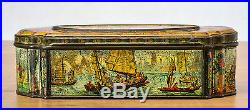 Antique China 1870 Tin Biscuit Can Chinese Imperial Enamel Mandarin Qing Art