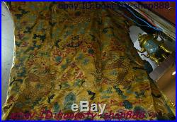Antique China Ancient Qian Long Emperor Golden silk Gold Dragon Imperial robe