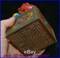 Antique China Colored Glaze Colour Pixiu Beast imperial Seal Stamp Signet Statue