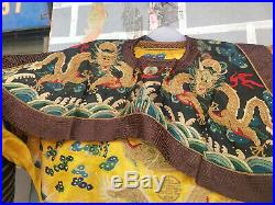 Antique China Qian Long Dynasty A Emperor Golden silk Gold Dragon Imperial robe