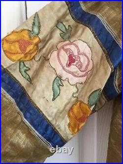 Antique China Yellow Gold Blue Dragons Woman Clothing Imperial Families