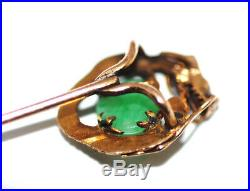 Antique Chinese 14K Gold Jadeite Imperial Dragon Stickpin Pin Qing Dynasty Jade