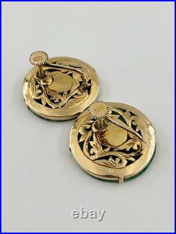 Antique Chinese 14k Yellow Gold IMPERIAL GREEN JADE Character Disk Earrings