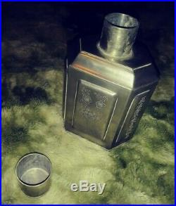 Antique Chinese 18th Century Qing Dynasty Pewter Engraved Tea Caddy Royal Family