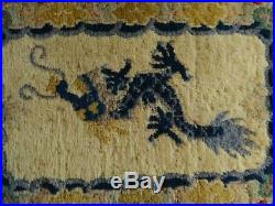 Antique Chinese 5 Claw Dragon Hand Knotted Wool Imperial Rug /Chair Cover