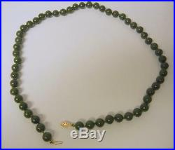 Antique Chinese A Grade Imperial Green Jade Beaded Necklace 25 Gold Clasp