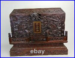 Antique Chinese Carved Imperial Edict Wood Box, Profused Carved, 19th Century
