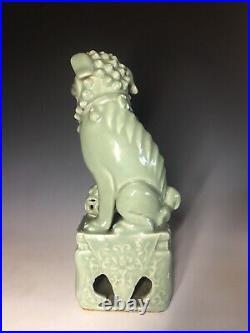 Antique Chinese Celadon Glazed Porcelain Imperial Foo Lion Shishi Foo Dog