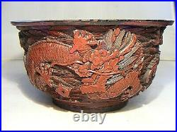 Antique Chinese Cinnabar Carved Imperial Dragon Bowl Qianlong Mark