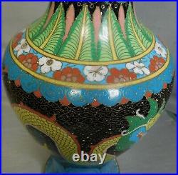 Antique Chinese Cloisonne 12.75 Enamel Vase Double Imperial Yellow Dragon COLOR
