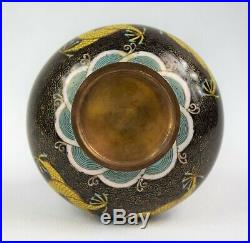 Antique Chinese Cloisonne Bottle Vase with Imperial Dragons