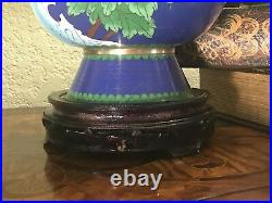 Antique Chinese Cloisonne Enameled Royal Blue Floral Vase & Stand 17 1/4 Tall