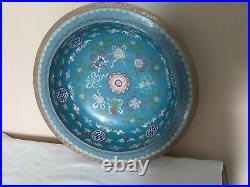 Antique Chinese Cloisonné Royal Blue 15 Diameter x 3 1/2 Tall Floral Bowl