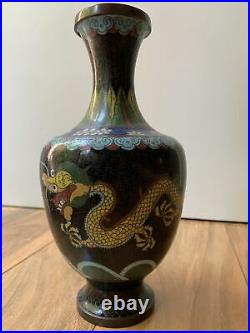 Antique Chinese Cloisonne Vase Lao Tian Li Zhi Yellow Imperial dragons 12 Beaut