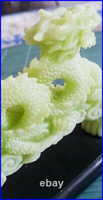 Antique Chinese Hand Carved Green Stone Imperial Dragon