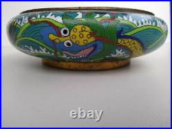 Antique Chinese Imperial 5 Clawed Dragon In The SEA Design Cloisonne Bowl Signed