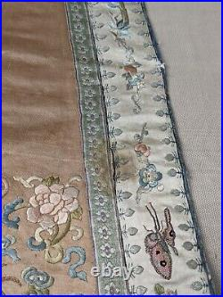 Antique Chinese Imperial Court Sash Qing Silk Embroidered Textile Butterflies