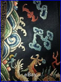 Antique Chinese Imperial Dragon Robe Embroidered Sleeve section Qing Density