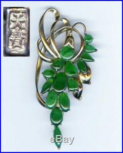 Antique Chinese Imperial Green Jade Gold Art Deco Era Brooch Pin Jadeite