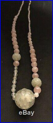Antique Chinese Imperial Period Different Color Jade Jadeite Necklace