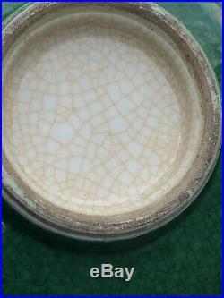 Antique Chinese Imperial Period Large Crackle Glazed Green Jade Enamel Vase