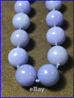 Antique Chinese Imperial Period Purpel Peking Glass Jade Pearl Bead Necklace 22
