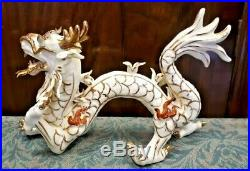 Antique Chinese Imperial Porcelain Dragon Figures White, Red & Gilt