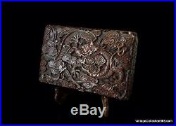 Antique Chinese Lacquer Cinnabar Box Carved with Imperial Dragon of 5 Claws