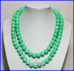Antique Chinese Peking Imperial Jade Glass Hand Knotted 33 Necklace