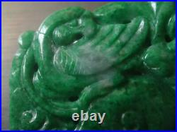 Antique Chinese Pierced Carved Openwork Imperial Green Jadeite Jade Plaque Panel