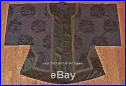 Antique Chinese Qing Dynasty Silk Robe Five-Clawed Imperial Dragon 19th century