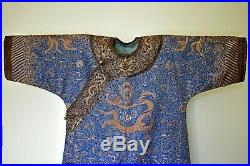 Antique Chinese Qing Imperial Court Gold & Silver Embroidered Silk Dragon Robe