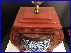 Antique Chinese Red Lacquer Lamp Imperial Five Claw Dragon Phoenix Pottery Shard