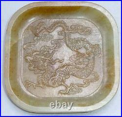 Antique Chinese Russet Jade Celadon Imperial Dragon Saucer Carving Greenware