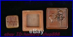 Antique Chinese Shou shan Stone Buddha Box imperial Seal Stamp Signet Statue Set