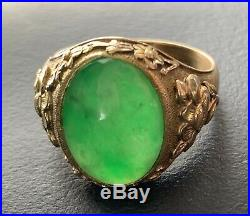 Antique Chinese Type-A Imperial Green Jade Jadeite Gold Ring Burmese