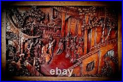 Antique Chinese Wooden Wall Panel/Plaque'Imperial Palace' Exquisitely Carved