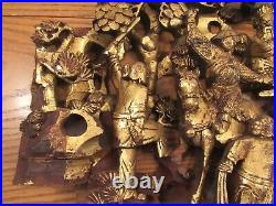 Antique Chinese deep relief gilt wood panel carving Imperial warriors 13x21.5
