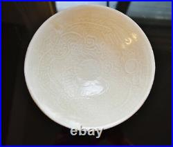 Antique Chinese monochrome white glaze porcelain Ding Ware bowl w. Imperial drag