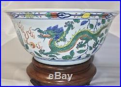 Antique Doucai Enamel Yongzheng Imperial Qing Dynasty Dragon Phoenix Punch Bowl