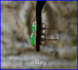 Antique Estate Old Mine CHINESE Imperial Green JADEITE Cabochon 14k STUD Earring