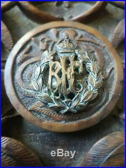 Antique Hand Carved Chinese Box With Royal Flying Corp Badge