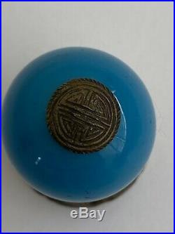 Antique Heavy Chinese Hat Finial Royal Blue Porcelain With Gold Or Brass Metal